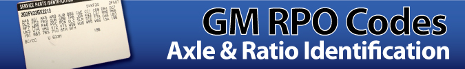 GM RPO Codes - Axle Identification
