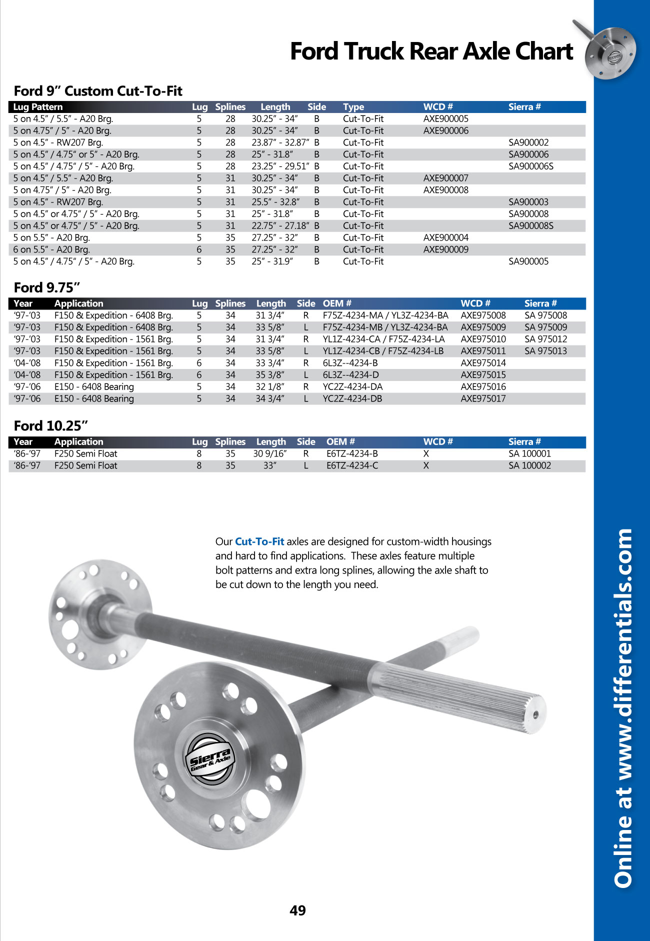 Ford Truck 9_9.75_10.25 Axle Shafts