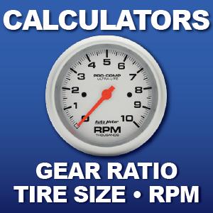RPM Calculator Tire Size conversion Rear End Gear Ratio Calculator