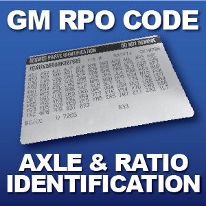 GM axle ratio identification codes G Codes