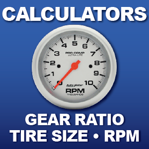 RPM Calculator Tire Size conversion Rear End Gear Ratio Calculator