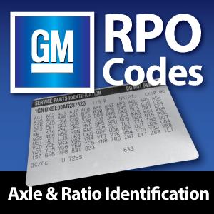 GM RPO Codes - Axle Ratio Identification - West Coast
